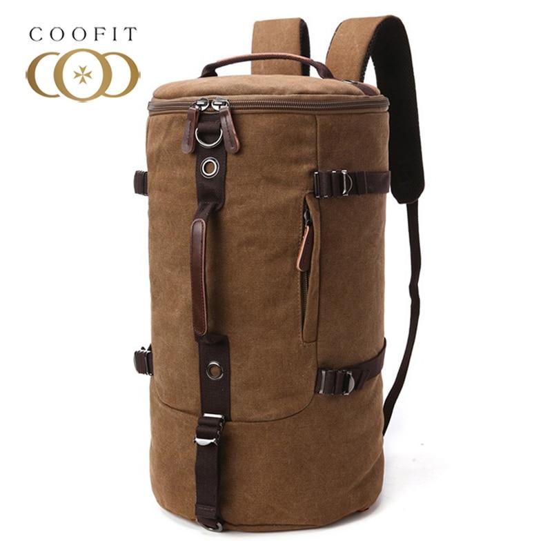 Coofit Mens Backpack Fashion Retro Cylinder Sac Canvas Travel Backpack Duffel Bag Shoulder Hand Bag Backpacks Male Shoulder Bag<br>