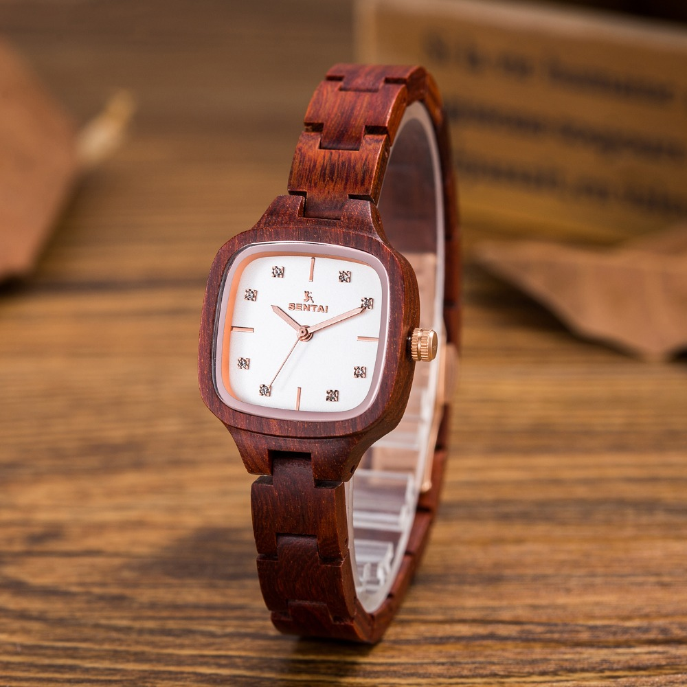 Luxury Fashion Quartz Dress Wood Wristwatches Women Clock Wrist watch bracelet wood watch Crystal decorate ladies Casual Watches<br>