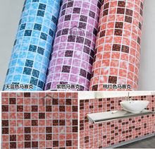 Self Adhesive Vinyl Wallpaper Mosaic Tile Border Sticker Kitchen Decor DIY Wall sticker(China)