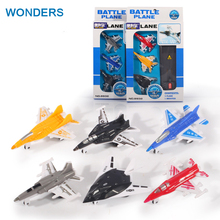 3pcs/lot mini plastic model plane slide fighter jets with catapult game toy children's gift