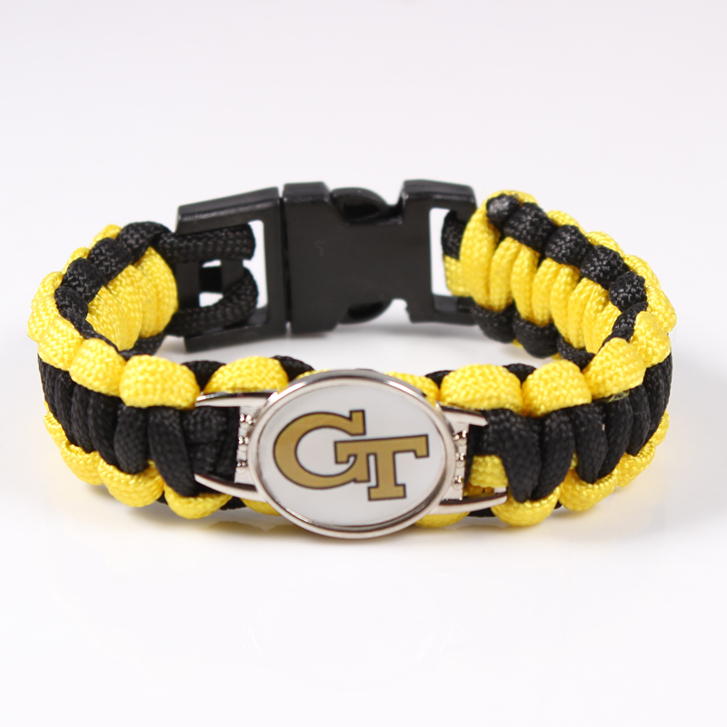 Georgia Tech Yellow Jackets Custom Paracord Bracelet NCAA Football Bracelet Survival Bracelet Drop Shipping ,19 Color Can Choose(China (Mainland))