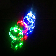 Free Shipping 5pcs/lot Flashing Wrist Band HAPPY Luminous Hand Ring Led Bracelet Children Party light up Toys