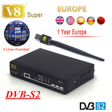 freesat v8 super powervu DVB-S2 support 3g iptv newcad wifi satellite receiver iptv openbox+1 Year Europe Clines cline Server(China)