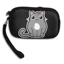 New Cool Fashion Creative 3D Print Not Fat Just Fluffy Cat Womens Wallet Girls Cute Coin Purse Small Storage Bags For Key Card
