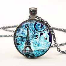 Handmade Paris Blues Pendant Retro Eiffel Tower Necklace Valentine's Day Birthday Christmas Gift Romantic Women Jewelry Glass(China)