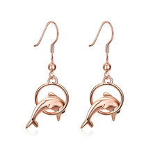 Fashion Ocean Shark Dangle Earrings Silver Rose Gold Colour Jumping Fish Circle Hanging Earrings Jewelry(China)