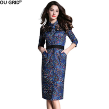 Vintage print Lady Dress 2016 New Arrival Women Autumn Slim Elegant Wear to Work Black Lace Design Party Dresses With Belt