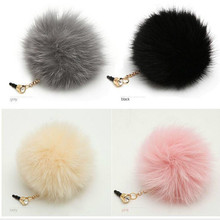 Cute Phone Accessories 3.5mm Earphone Jack Plug for Iphone4 5 6 7 Xiaomi Lovely Furry Plush Pure Heavy Hair Ball Anti Dust Plug