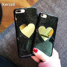 Buy Kerzzil Bling Shining Glitter powder Case iPhone 6 Love Heart Phone case iPhone 7 6s Plus Gold Mirror Soft Silicone Case for $2.21 in AliExpress store