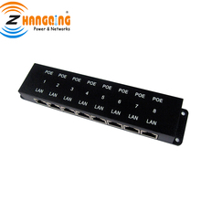 Passive POE injector 8 port black 10/100 Mbps Power over Ethernet PoE patch panel for IP Camera, VOIP, WiFi AP