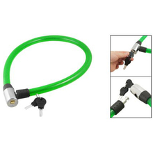 Green Plastic Coating Steel Scooter Bicycle Bike Cable Lock 65CM + 2 Keys