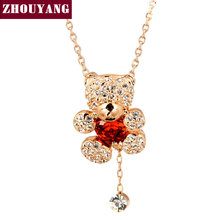 ZHOUYANG Top Quality Crystal Heart Bear Rose Gold Color Fashion Jewellery Nickel Free Pendant Necklace ZYN065 ZYN064(China)
