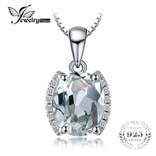 JewelryPalace Oval 1.83 ct Green Amethyst Natural Stone Pendant Necklace 925 Sterling Silver Vintage Jewelry Not Include A Chain(China)