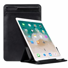 Luxury Leather Sleeve Bag for iPad Pro 12.9 2017 Case Improved Bag Folding Pouch Cover with Pencil Slot Holder for iPad Pro 12.9(China)