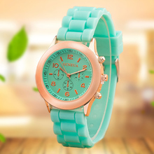 2017 14 color Brand Women's Watches Plated metal dial Dress Sports Watch Ladies Men Silicone strap Unisex Quartz Wristwatch