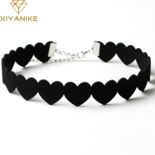 XIYANIKE Black Lace Choker Necklace Women Velvet Choker Love Heart Necklaces Chocker tattoo collares Collie ras de cou N662(China)
