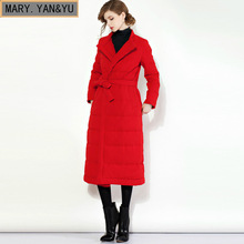 2017 fall and winter new women's wear Europe and the United States Belt long paragraph knees brand jacket women coat(China)