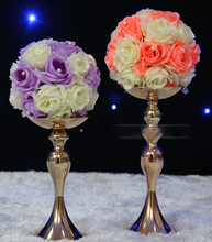 30cm 10pcs/lot high wedding kissing ball stick European classical GOLDEN candle stick/ wrought iron candle sticks without flower