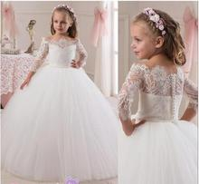 2016  Toddler Lace Flower Girls Dresses For Weddings Teens Tulle Jewel Long First Communion Dress Floor Length Girl Pageant Gown