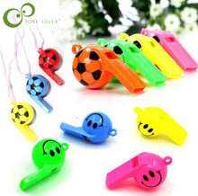 10pcs/lot Soccer football or smiling face whistle cheerleading toys for kids children plastic whistles toys with ropes GYH
