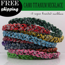 Digital Camo titanium 3 ropes necklaces titanium magnetic balance sport custom necklace 16/18/20/22 inch 200pcs/lot free DHL