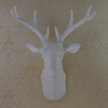 mini wall mounted white whitetail buck bust deer head art plaque hunt sculpture as faux taxidermy