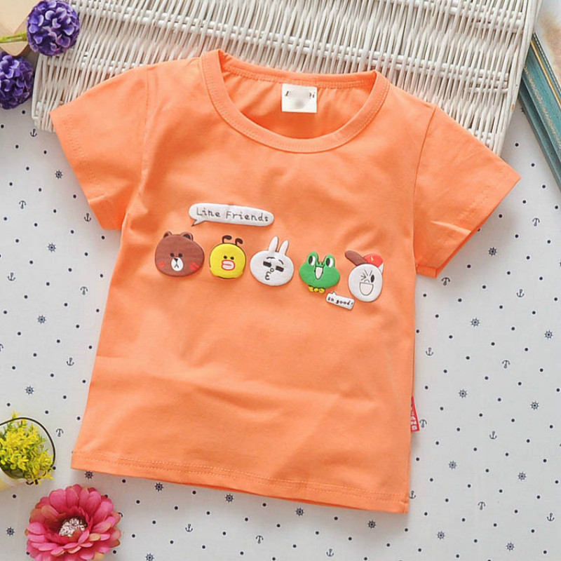 2017 New Summer Baby T-shirts Short Sleeve O Neck T Shirts Cartoon Cotton Boys Girls T-shirt 0-3T Children's Clothing Wholesale(China (Mainland))