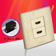 Golden Color Dual HDMI1.4 Port Wall Outlet L Shape HDMI Connector Faceplate Directly Plug Socket