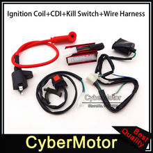 Engine Kill Stop Switch Racing Ignition Coil AC CDI Box Wirings Loom Harness For Chinese Pit Dirt Bike 50 90 110 125 150 160 cc