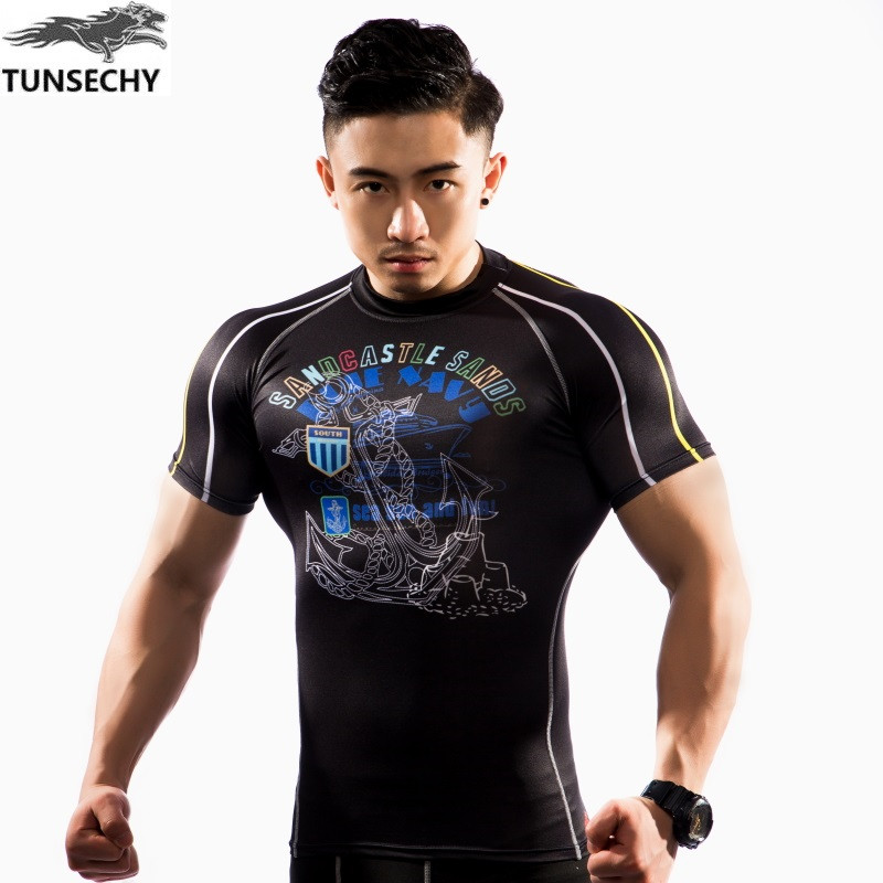 NEW Mens Compression Shirts Bodybuilding Skin Tight Short Sleeve Jerseys TUNSECHY brand Crossfit Outdoor sports bike t Shirt 164