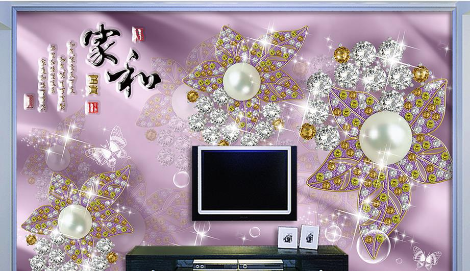 European style Custom Photo Wallpaper Mural Wallpaper 3D Luxury Jewelry Flower Jewelry TV Wall Background Wall papel de parede<br>