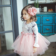 Aini Babe New Baby Girl Princess Dress Girls Chiffon Dress Floral Pink 3-8Y Christmas Party Clothing Birthday Wedding Tutu Dress(China)