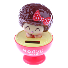 1Pcs Plastic Solar Powered Spring Beauty Dancing Flip Flap Bobble Head Toy Car Ornaments Classic Toys for Children Birthday Gift(China)