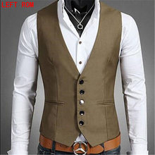 plus size 5xl fashion slim fit sleeveless mens wedding waistcoats 3 colors solid waistcoat men dress vests Men's sleeveless vest(China)