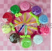 10 X Mini Solid Color Creative Cake Towel Lollipops Towel Candy Small Kerchief Towel Mixing Colors