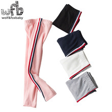 Retail 3-10 year old children spring new children's trousers side red and blue stripes girl sports leggings(China)