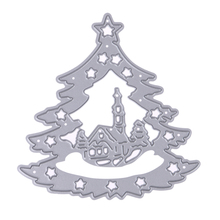 Christmas Tree Background Metal Dies Cutting Scrapbooks Embossing Folder Suit for Sizzix Fustella Big Shot Cutting Machine