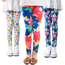 girl pants new arrive printing Flower girls leggings Toddler Classic Leggings 2-14Ybaby girls leggings kids leggings(China)