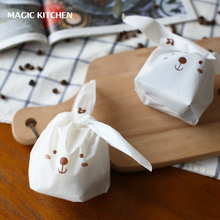 20pcs/lot Cute Rabbit Ear Biscuit Bag Moisture Proof Plastic Candy Box Cookie Bags Food Cake Gift Packaging Bag Wedding Supply
