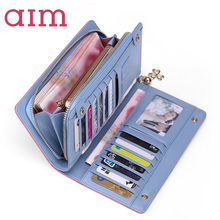 AIM Women Fashion Split Leather Wallets Lady Candy Color Patchwork Coin Purse Cell phone Pocket Female Card Holder Long Purse(China)