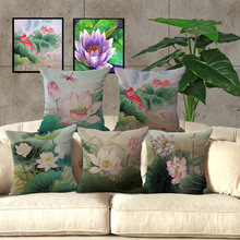 Wholesale price Lotus Series Painting Seat Cushion Decorative Home Decor Sofa Chair Throw Pillows Case 1pieceX45*45cm