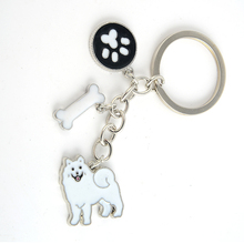 Samoyed charms key chains for women men girls silver color alloy metal pet dog pendant car bag keychain key ring fashion jewelry