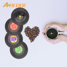 ABEDOE 4 Pcs Home Table Cup Mat Creative Decor Coffee Drink Placemat for Table Spinning Retro Vinyl CD Record Drinks Coasters(China)