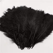 25-30cm fluffy soft ostrich feathers dye black feather for craft ostrich plumes wedding party decoration 10-12inches 10pcs/lot