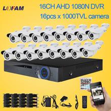 LOFAM home 16CH AHD 1080N 960P HDMI CCTV WIFI DVR Camera System with 1000TVL Outdoor IR-CUT Security Surveillance kit 16 channel