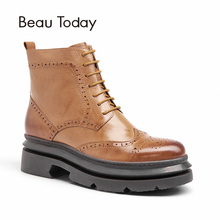 Buy BeauToday Brogue Boots Women Platform Top Genuine Leather Sheepskin Brand Lace-Up Zipper Martin Ankle Shoes 03405 for $100.69 in AliExpress store