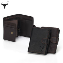 FAMOUSFAMILY Men Organizer Wallets Brand Vintage Genuine Leather Cowhide Short Bifold Men's Purse Card Holder With Coin Pocket