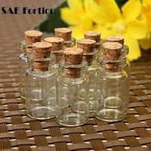 10pcs/set Small Wish Bottle Tiny Clear Empty Wishing Glass Message Vial With Cork Stopper Mini Containers Bottle Christmas ZH210(China)