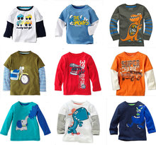 Sale brand 2015 new fashion kids clothing 100%cotton blouse childrens clothes baby boy's long sleeve t shirts Cars Fireman Top(China)