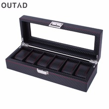 OUTAD 2/3/6 Grid Wood Aluminum Leather Watch Mens Box Handmade Acrylic Top Suede Pillow Watch Jewelry Collection Display Case(China)